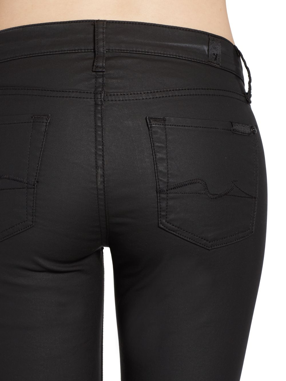 7 for all mankind Gwenevere Coated Denim Skinny Jeans in Black | Lyst