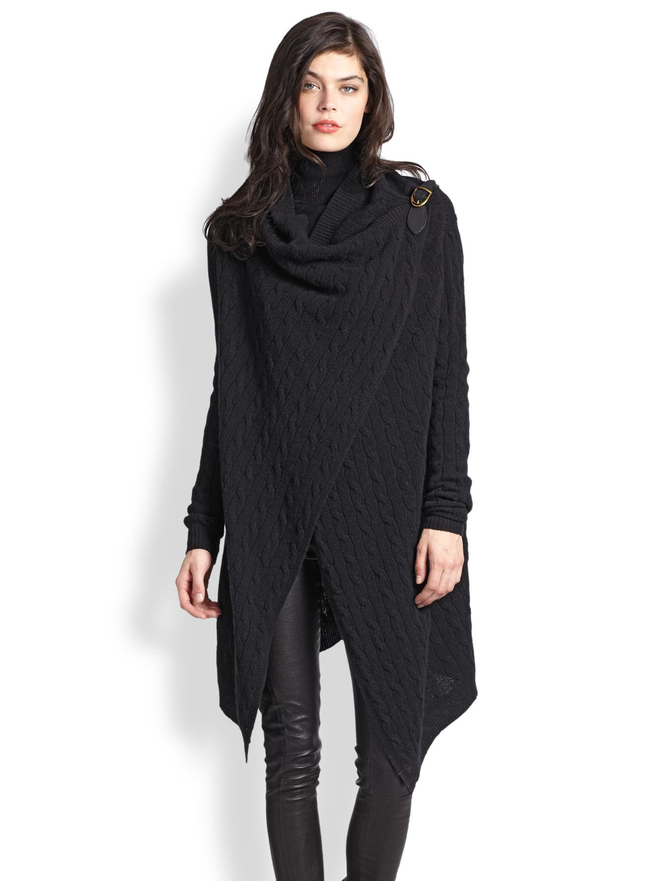 Polo ralph lauren Wool & Cashmere Wrap Sweater in Black | Lyst