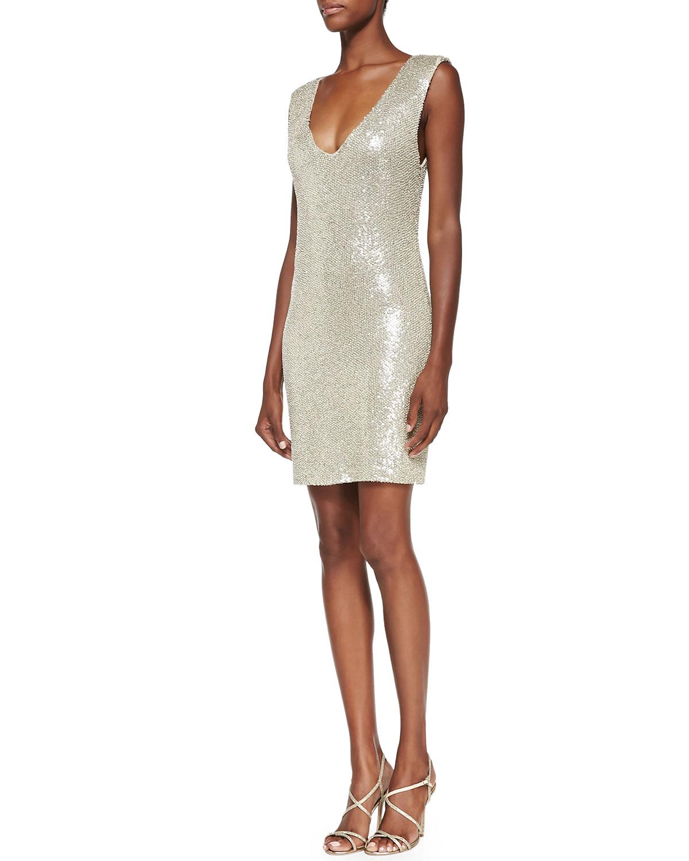 Alice   olivia Sequin-embellished V-neck Dress in Natural  Lyst