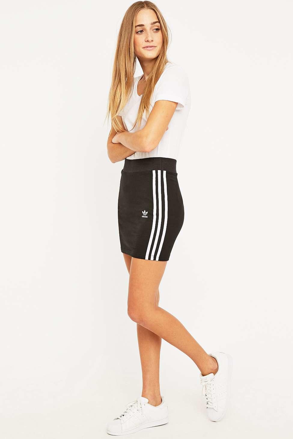 a3f9d15034 adidas Originals Three Stripe Black Mini Skirt in Black - Lyst
