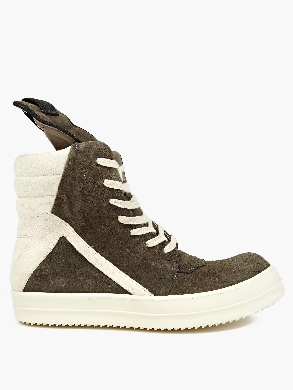 rick owens grey nubuck geobasket sneakers in gray for men lyst. Black Bedroom Furniture Sets. Home Design Ideas