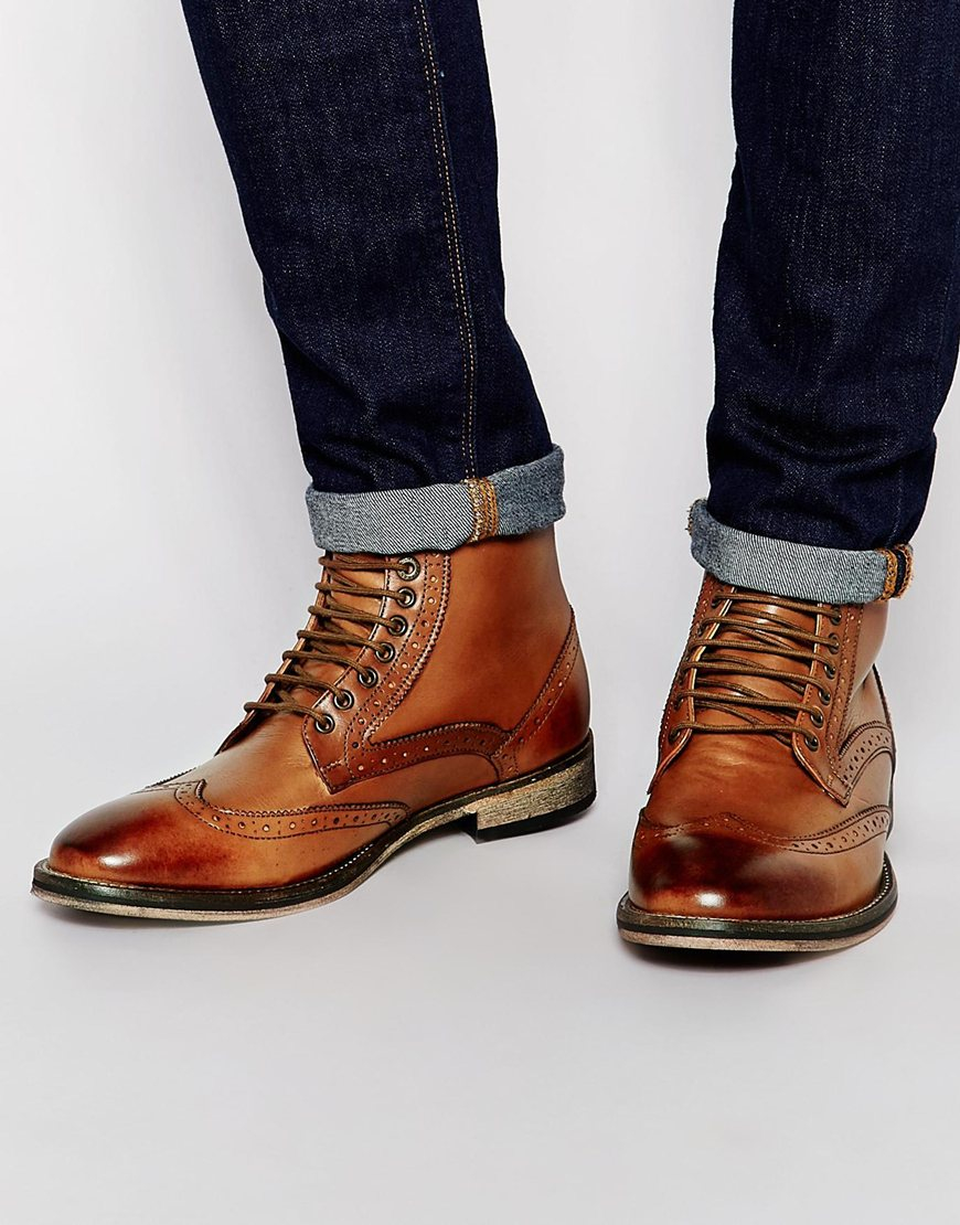 Frank Wright Brogue Chelsea Boots Tan Leather FMKy7