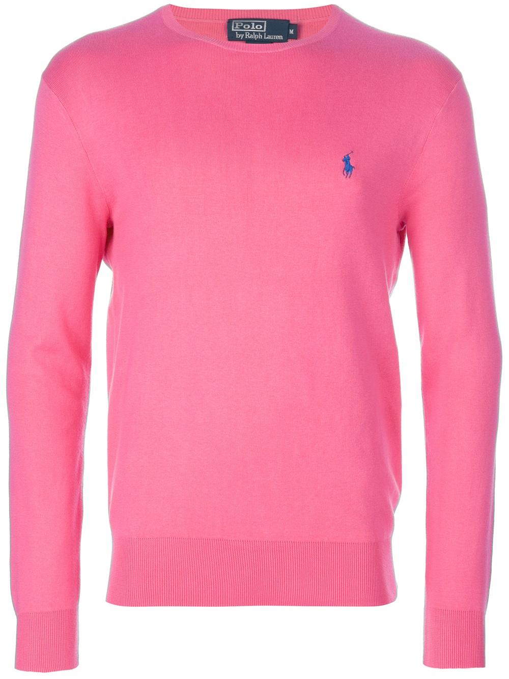 Polo ralph lauren Crew Neck Sweater in Pink for Men | Lyst