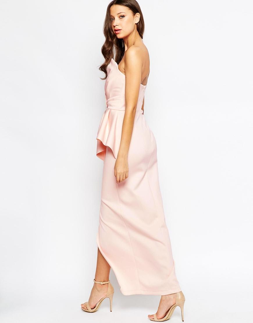 a687a81051 Lyst - ASOS Red Carpet Scuba Bandeau Heavy Fold Peplum Maxi Dress in ...