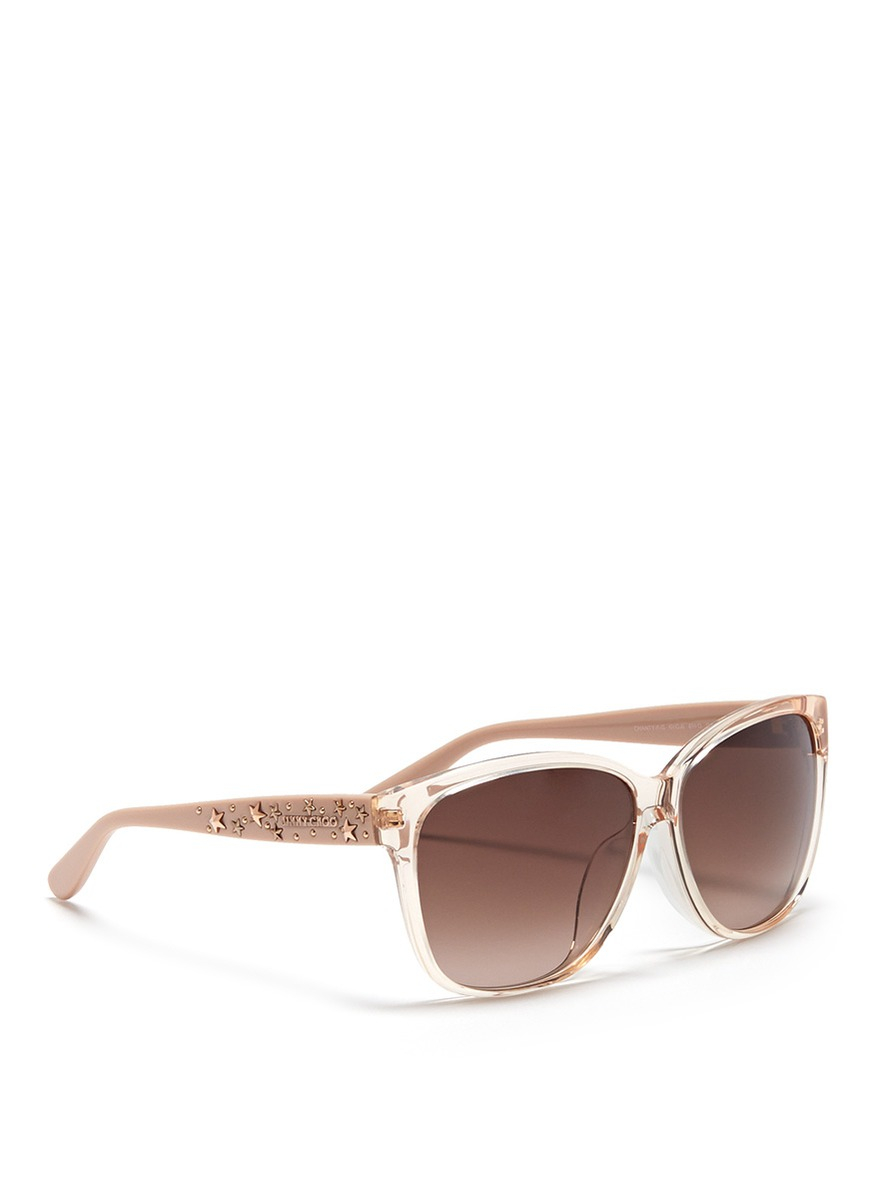 bdba4d003206 Lyst - Jimmy Choo Chanty Star Stud Plastic Sunglasses in Pink