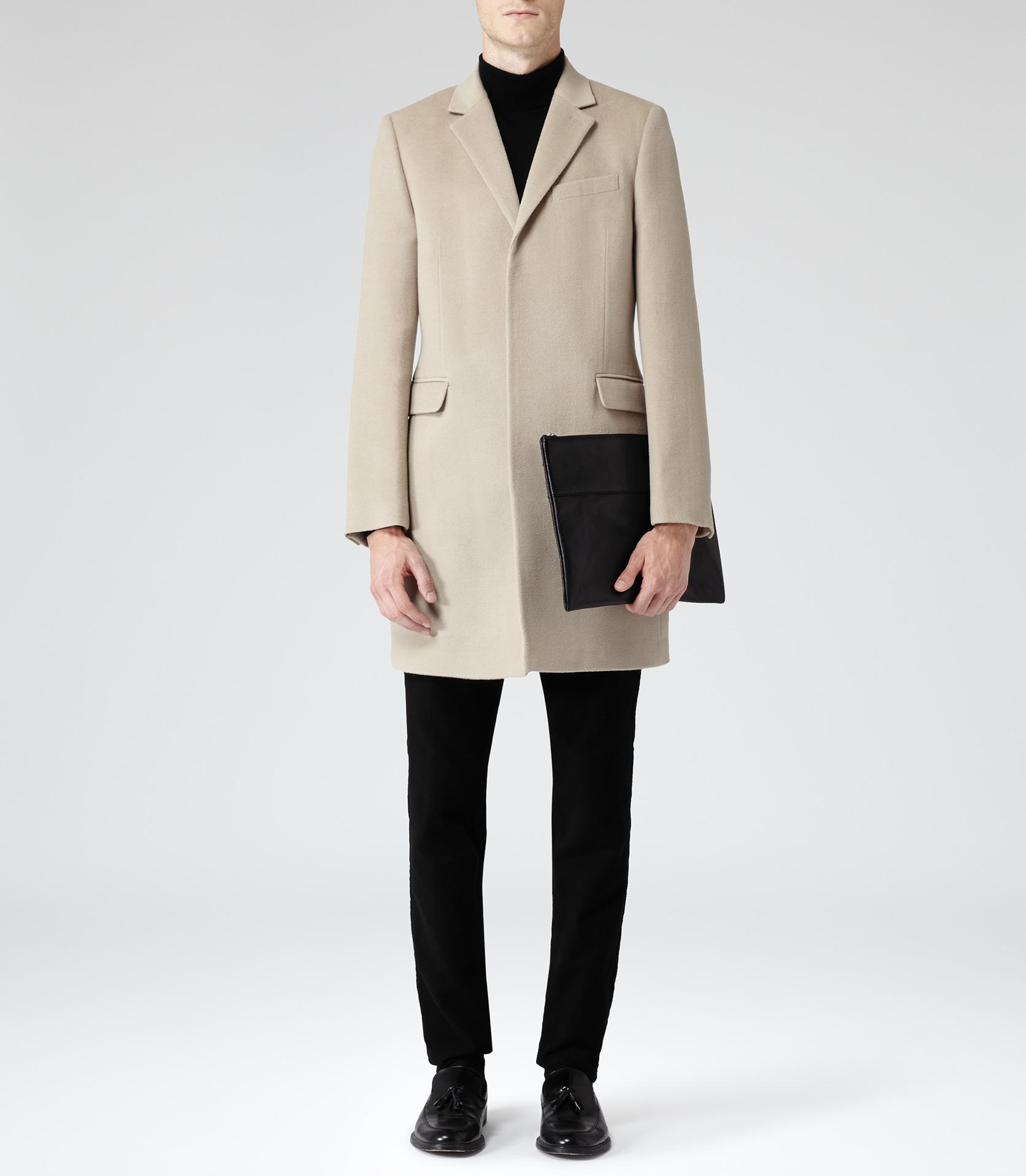 Reiss Vassal Single Breasted Wool Coat In Camel Natural