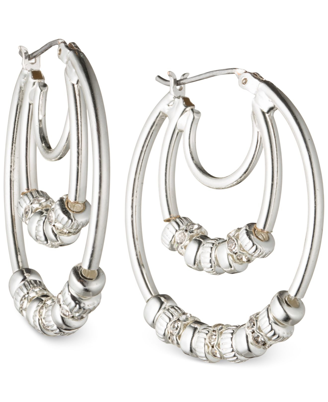 Luxury  Silversmiths  Women39s Silver And Turquoise Studded Hoop Earrings