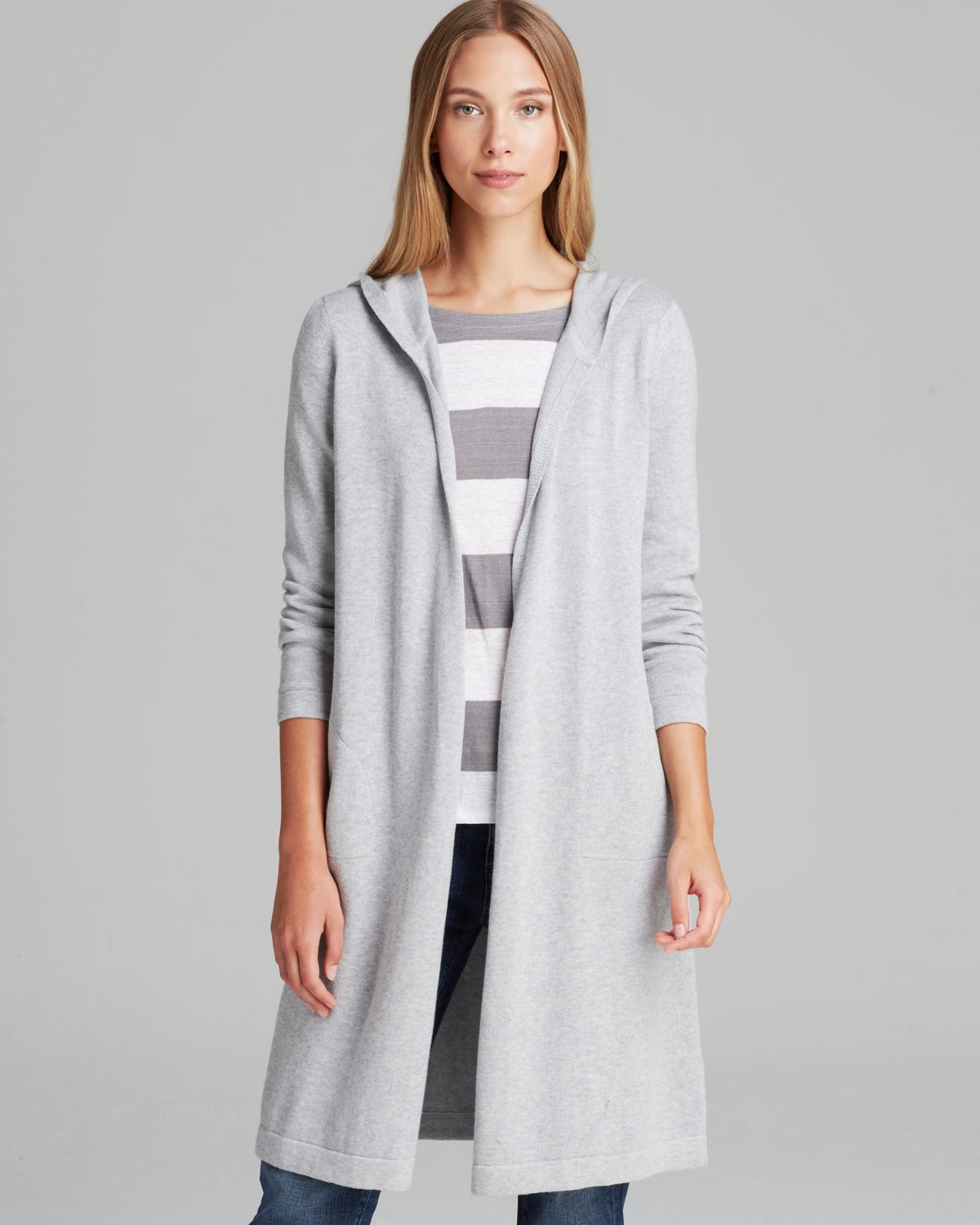 Eileen fisher Hooded Long Cardigan in Gray | Lyst