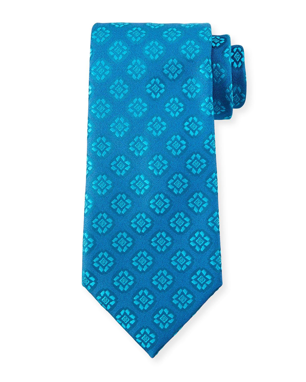 charvet medallion print silk tie in blue for light