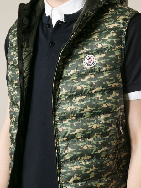 Moncler Camouflage Print Gilet In Green For Men Lyst