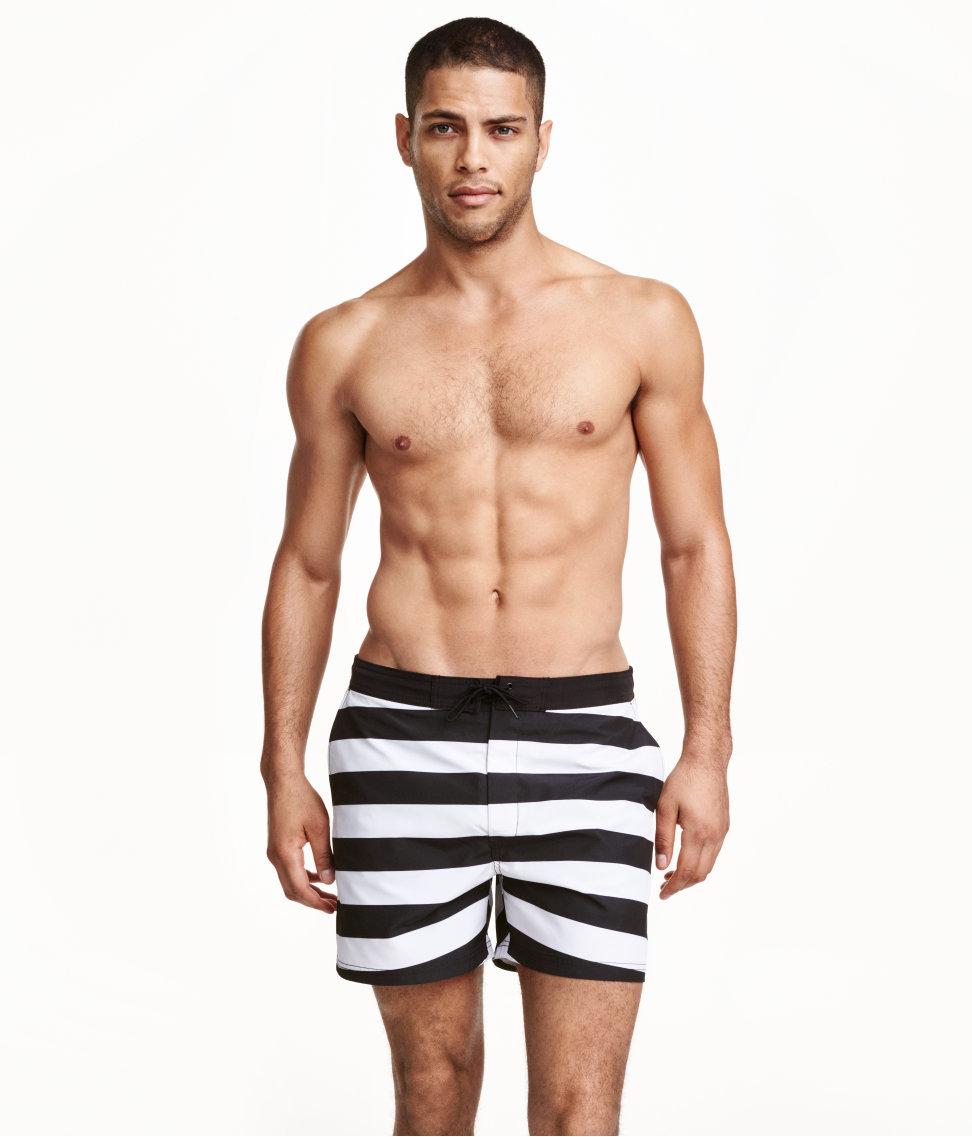 06dbdc89c2 H&M Striped Swim Shorts in Black for Men - Lyst