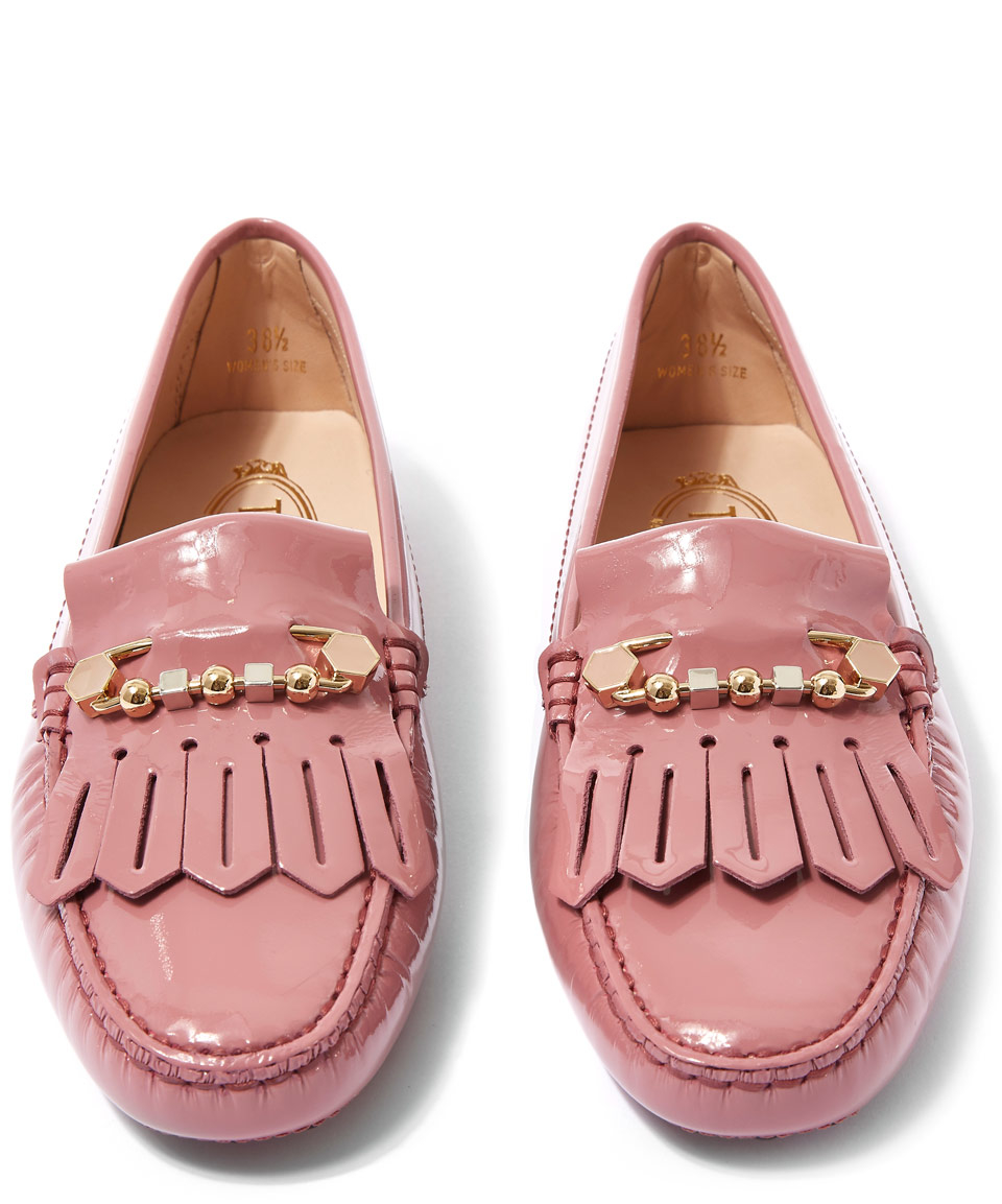 a1bcc028a4941 Tod's Pale Pink Patent Leather And Enamel-pin Gommino Driving Shoes ...