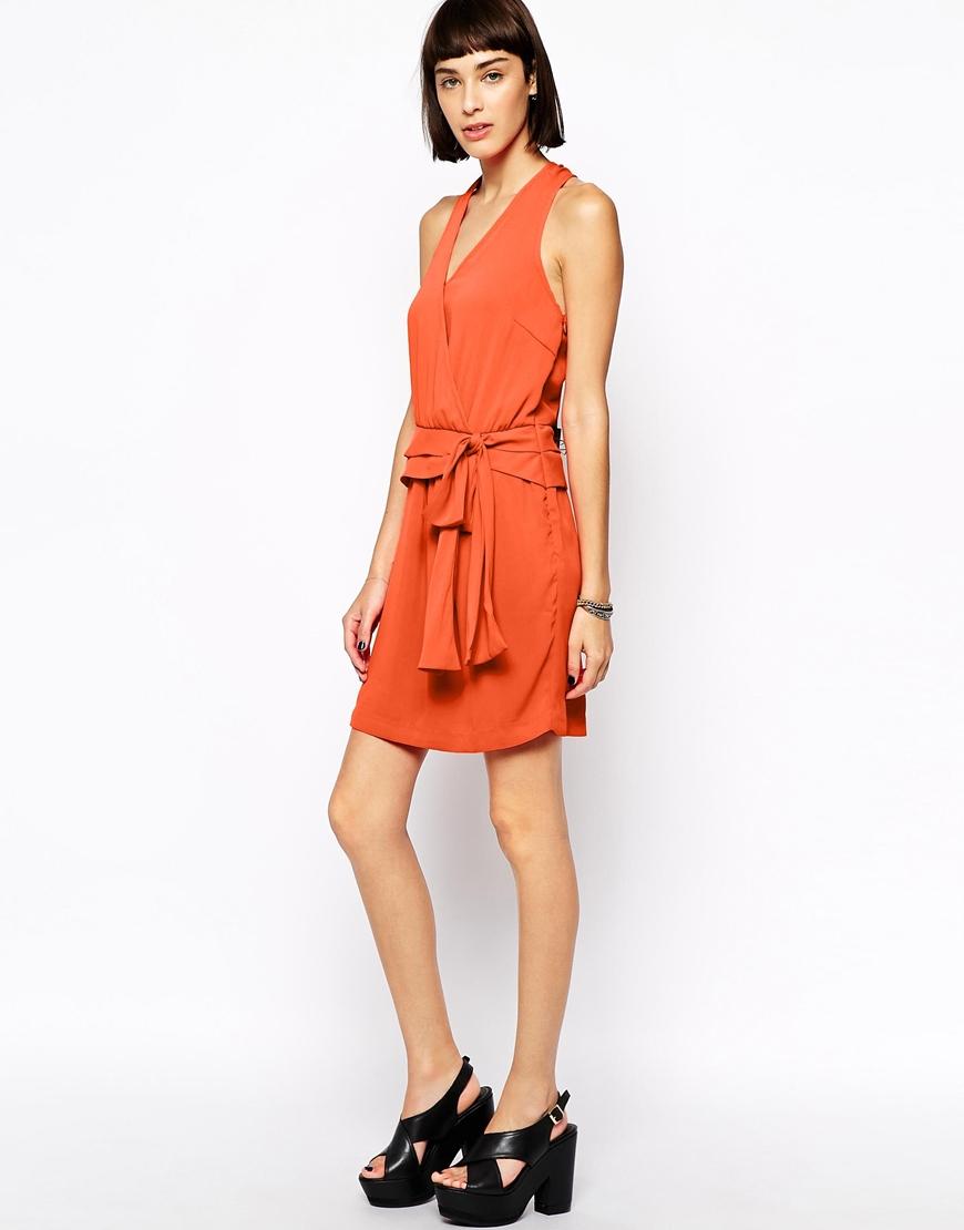 Greylin Tiffany Faux Wrap Silk Dress In Orange Lyst