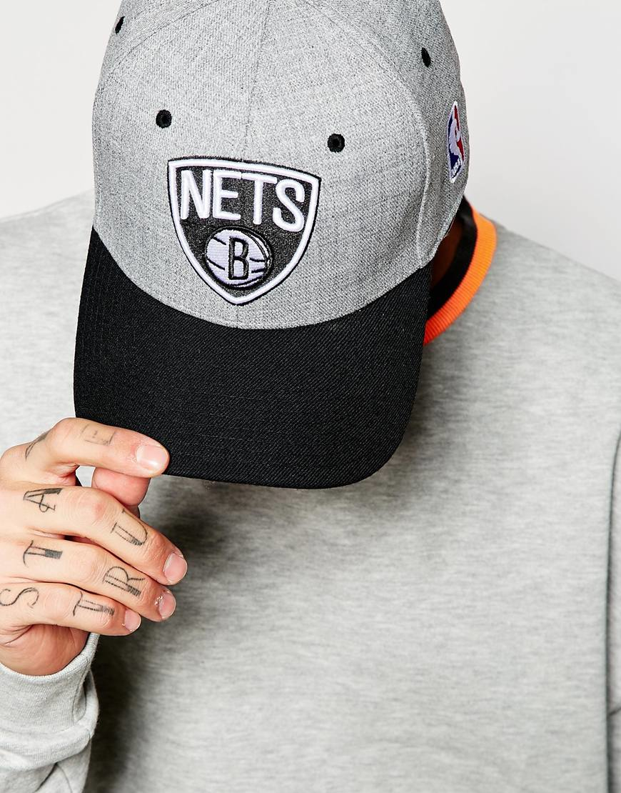 official photos 0f124 4ed18 ... good lyst mitchell ness brooklyn nets stretch fitted cap in gray for  men 47440 20aae