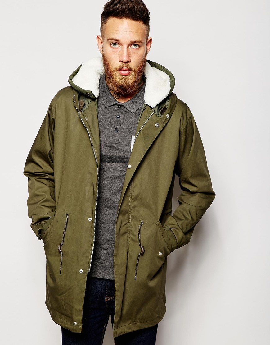 Asos Fishtail Parka With Removable Faux Shearling Lining In Khaki ...
