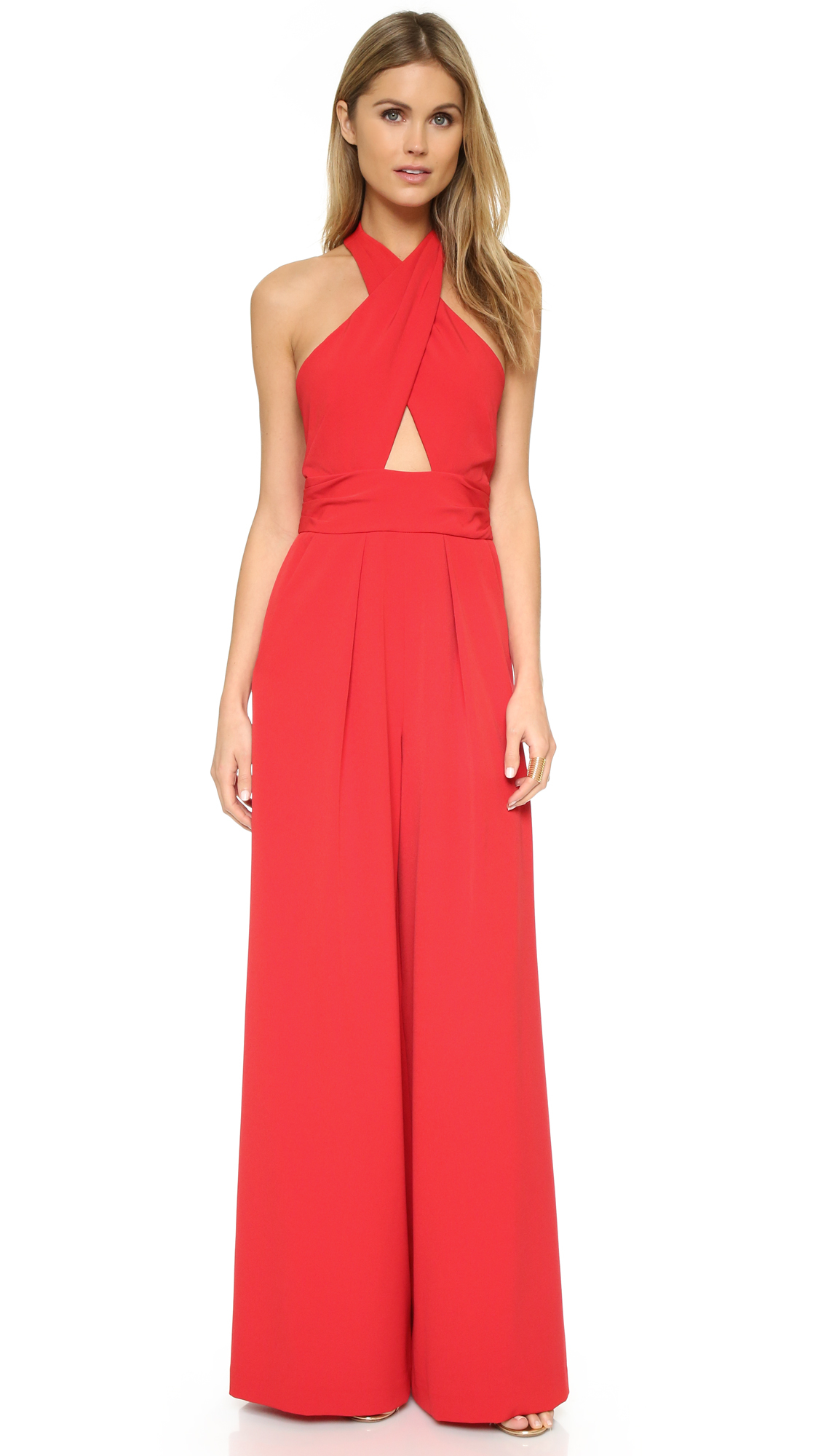 Milly Cady Halter Jumpsuit in Red | Lyst