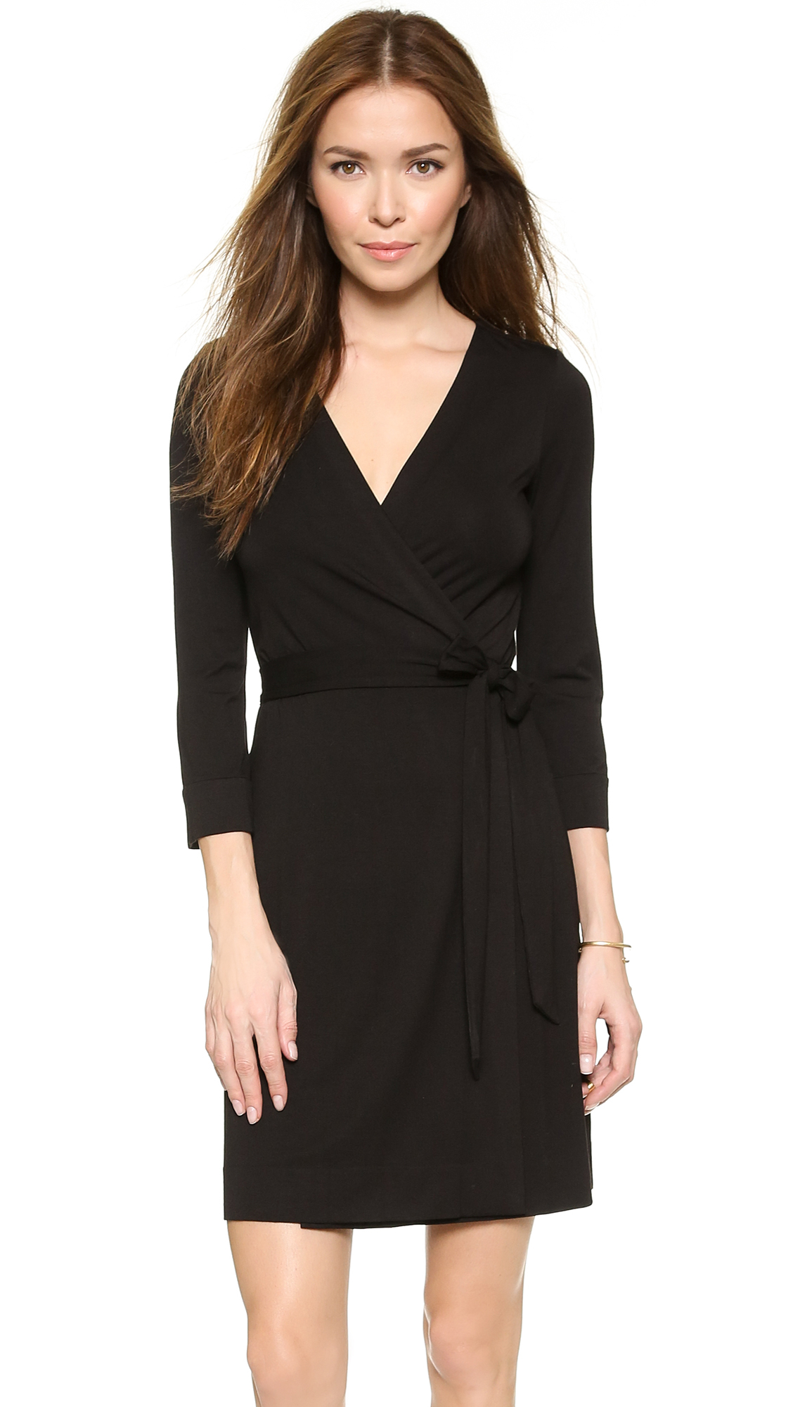 Diane von furstenberg julian mini wrap dress in black lyst for Diane von furstenberg clothes