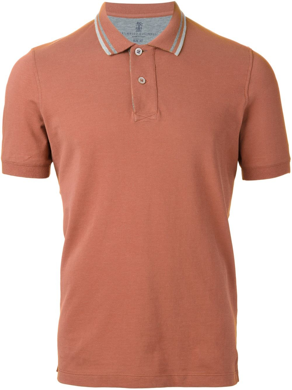 Brunello Cucinelli Striped Collar Polo Shirt In Brown For