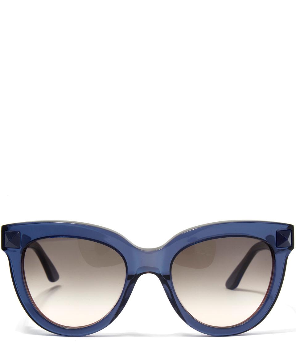 075eab41851 Valentino Blue Cat Eye Stud Sunglasses in Blue - Lyst