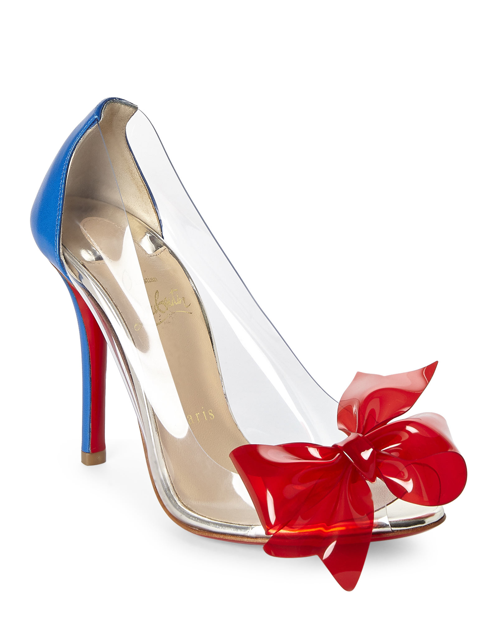 bb3abb56062 Lyst - Christian Louboutin Clear Pvc Bow Pumps in Blue