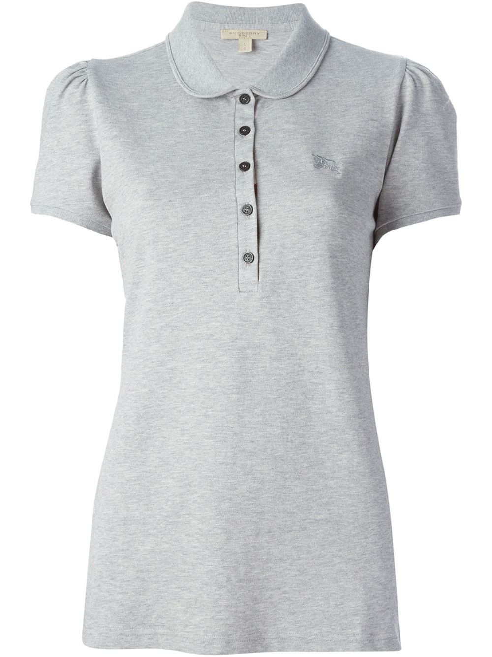 Burberry Brit Peter Pan Collar Polo Shirt In Gray Grey