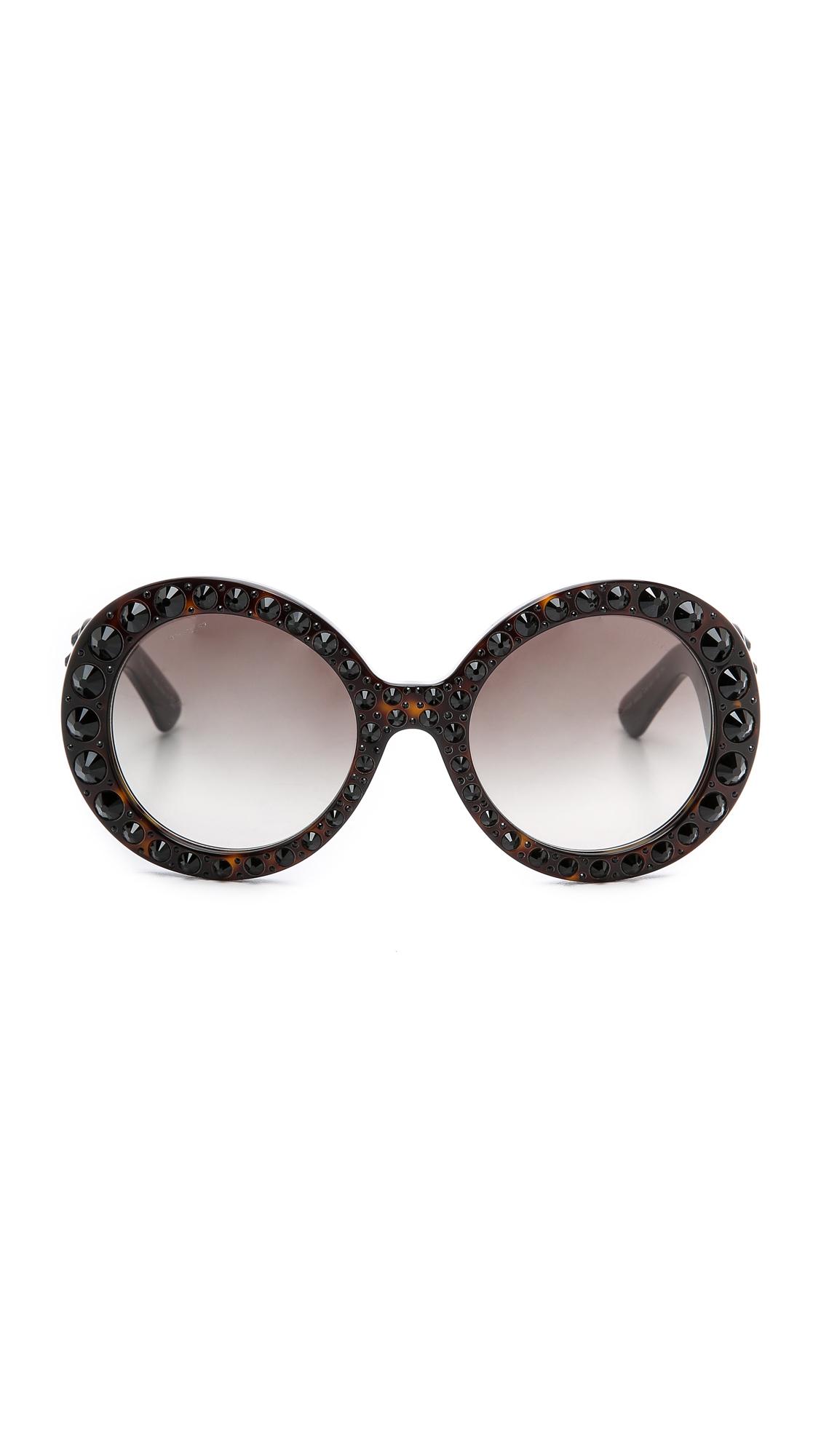463baee8530 ... where to buy lyst prada studded round sunglasses havana grey gradient  in gray fd8f5 cccbe
