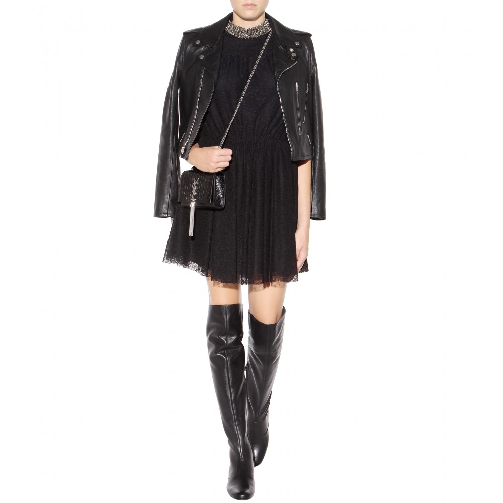 c17f14ad0eb Lyst - Saint Laurent Babies Leather Over-The-Knee Boots in Black