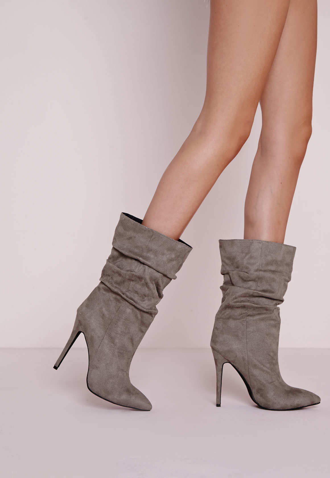 5d3a8cf26f12 Missguided Ruched Pointed Toe Ankle Boots Grey in Gray - Lyst