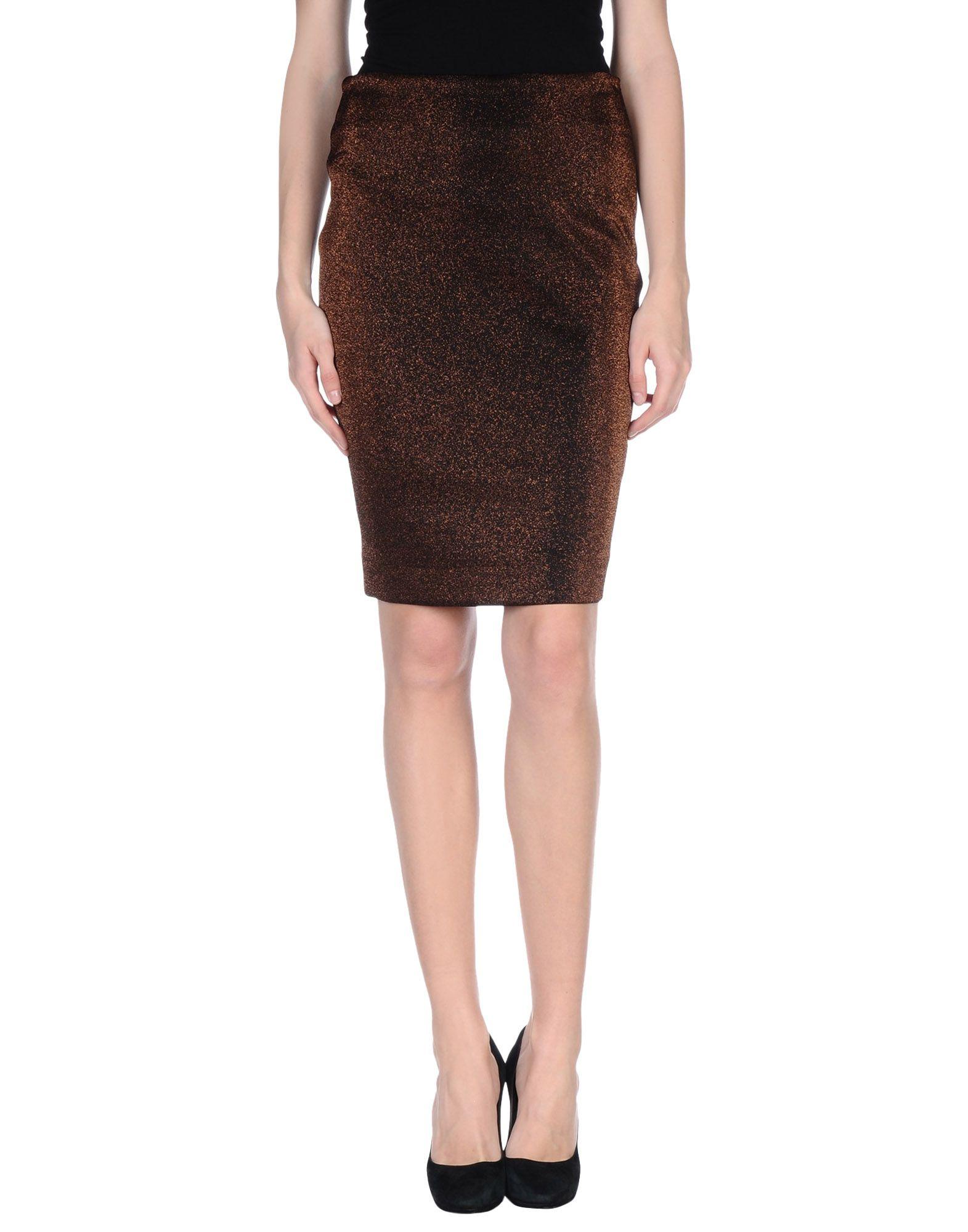 pinko knee length skirt in brown lyst