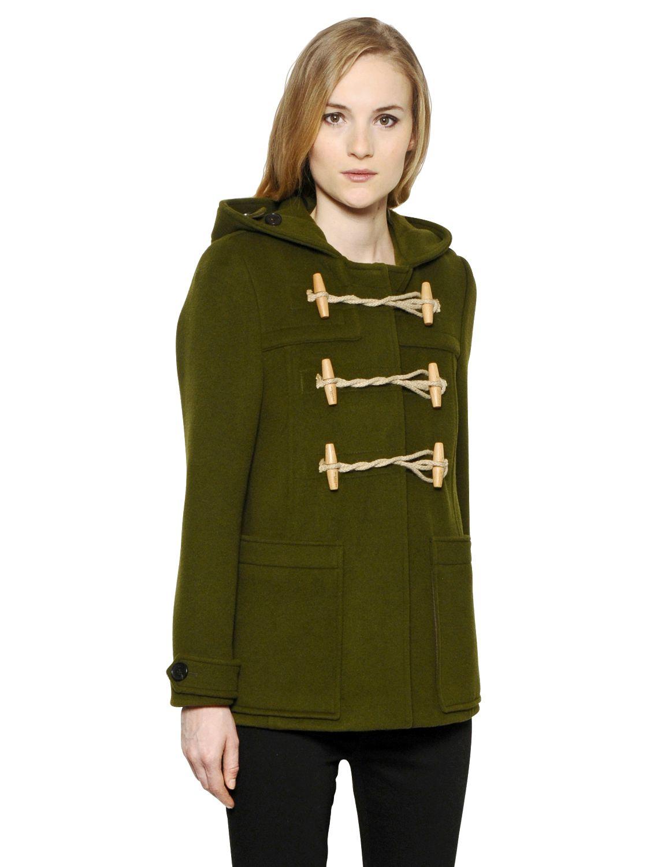 Burberry brit Portstead Wool Blend Duffle Coat in Green for Men | Lyst