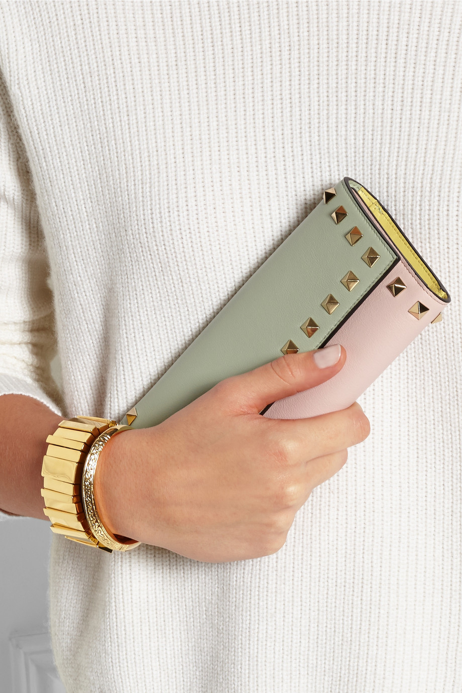 Valentino Rockstud Color-Block Leather Continental Wallet in Green (Pink) | Lyst
