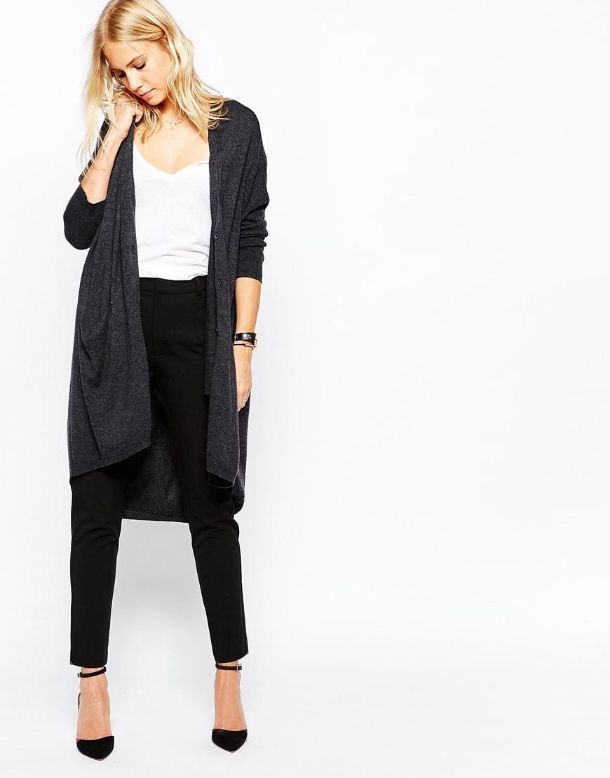 Just Female Carla Long Cardigan Dress In Black Melange Lyst