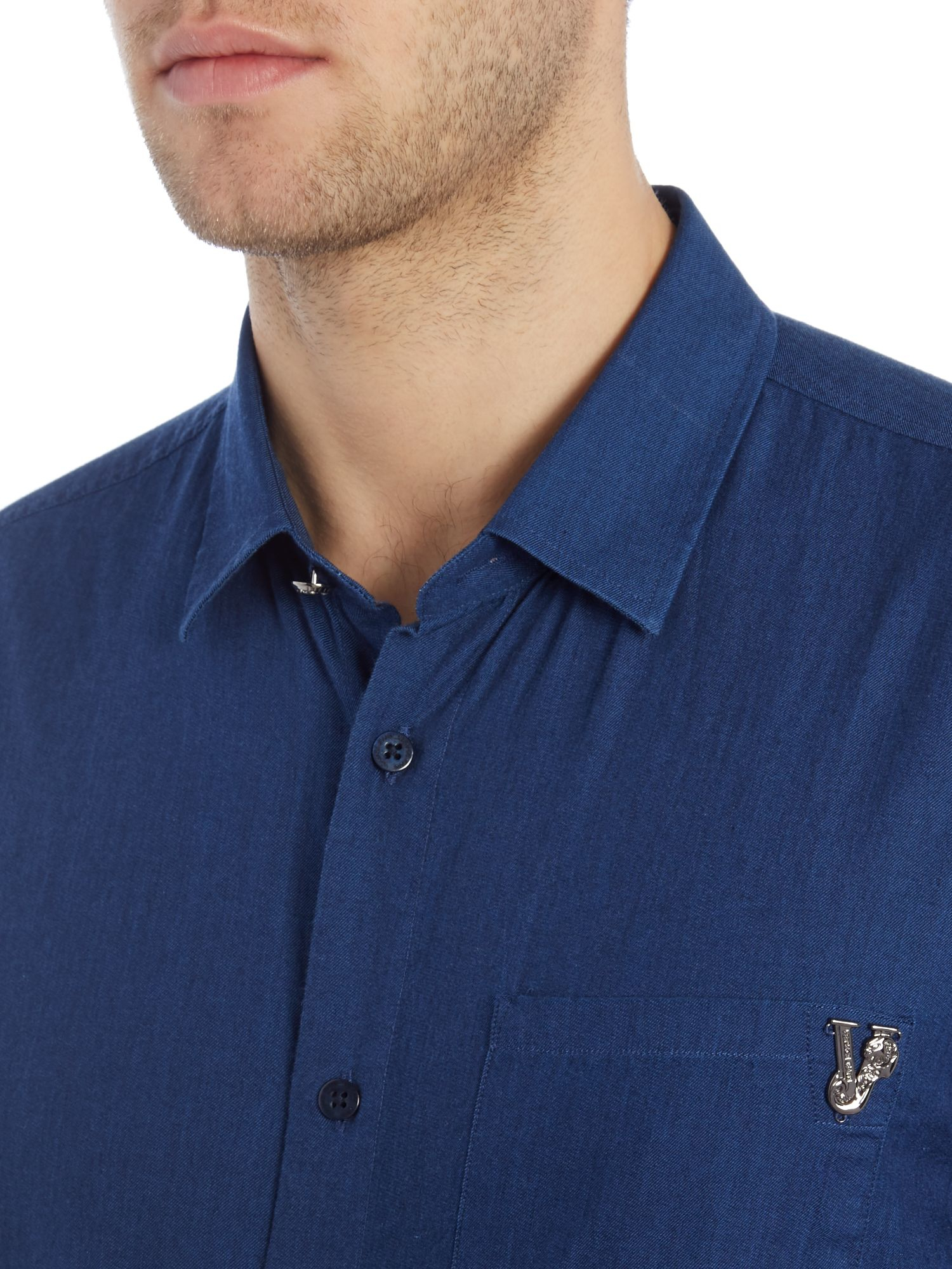 Versace Jeans Couture Slim Fit Chambray Shirt in Blue for Men