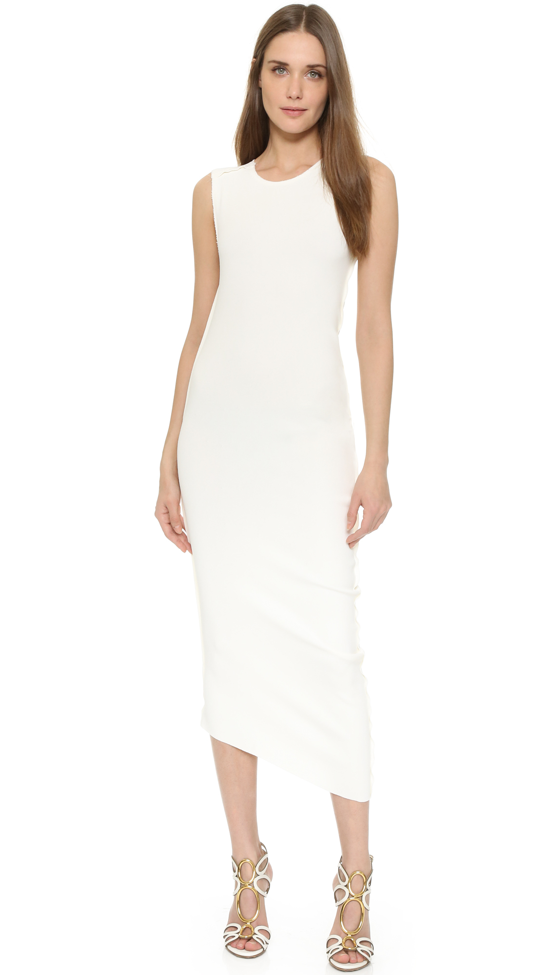 Donna karan Asymmetrical Sheath Dress in White | Lyst