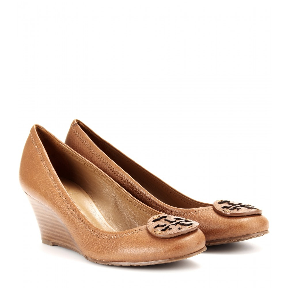 Tory Burch Sally Leather Wedge Pumps in