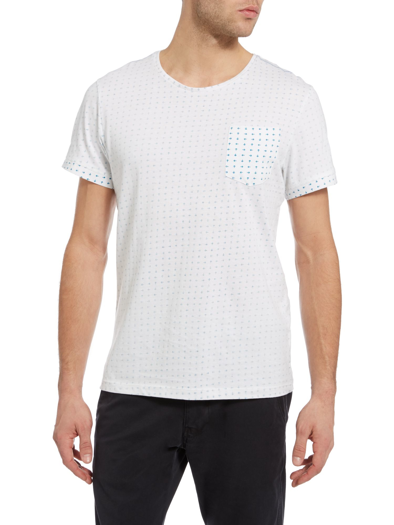 Lyst casual friday print crew neck regular fit t shirt for Casual white t shirt