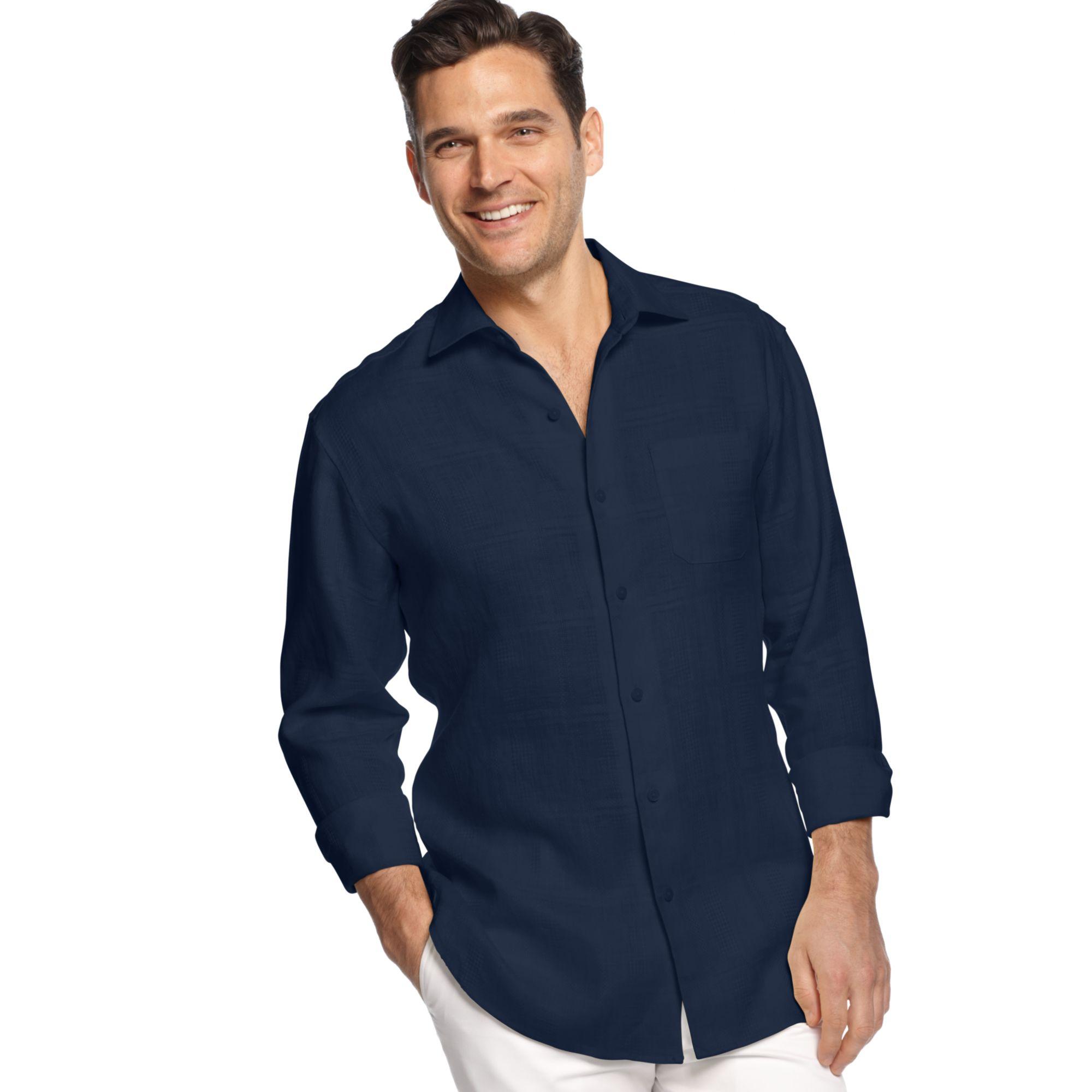 Tommy bahama long sleeve monte carlo linen shirt in blue for Tommy bahama long sleeve dress shirts