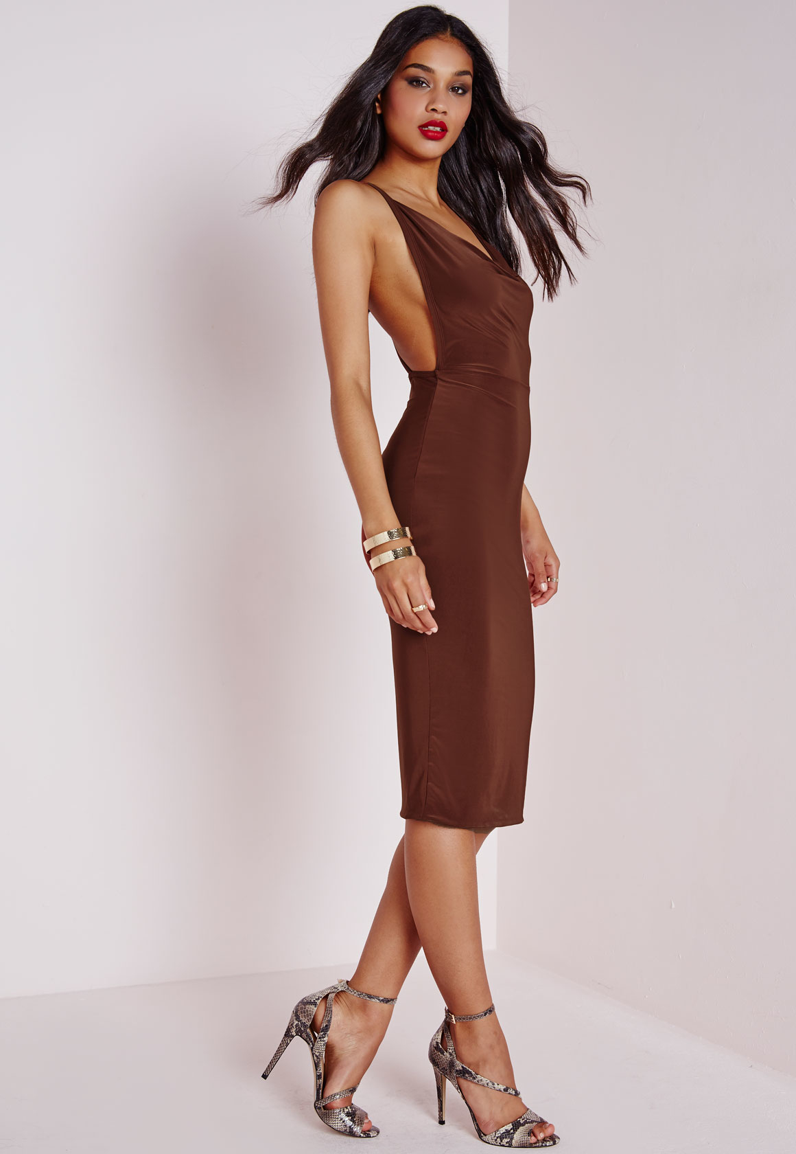 51c0ab76c1a8 Lyst - Missguided Slinky Cowl Neck Midi Dress Chocolate Brown in Brown