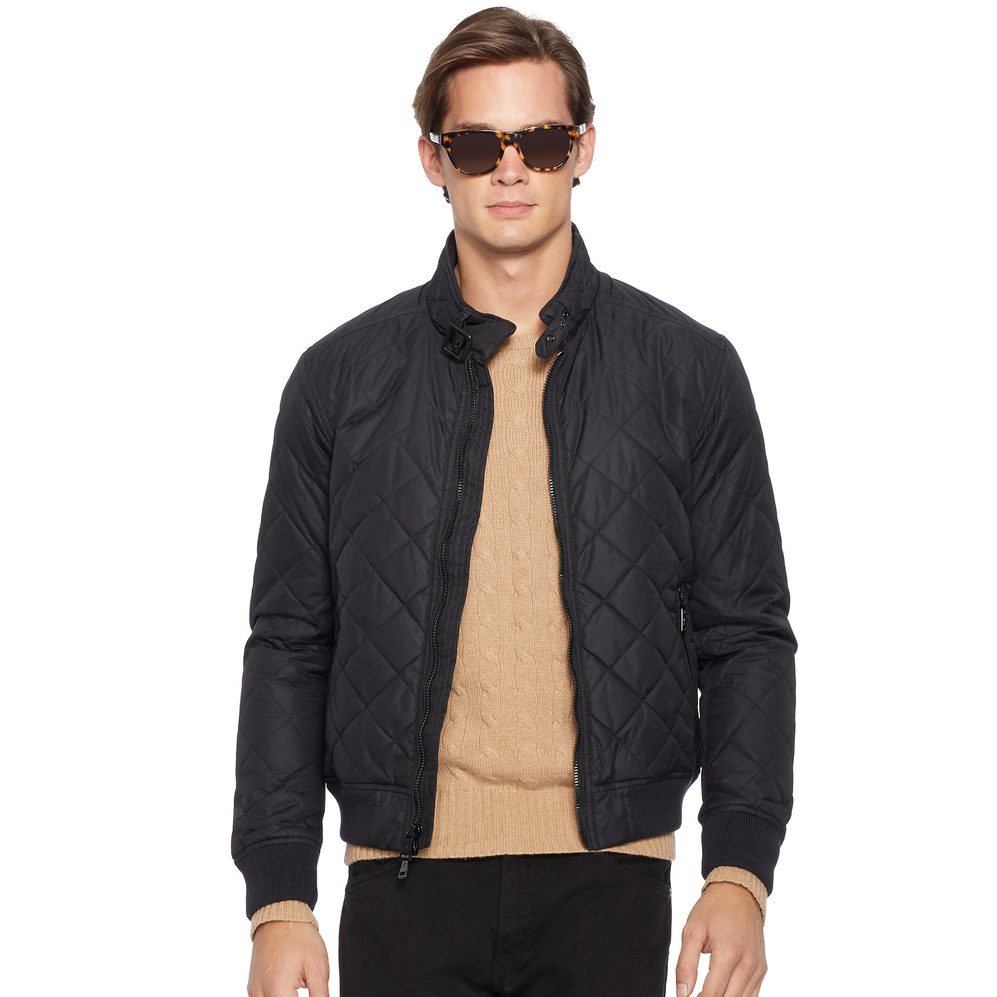 lyst polo ralph lauren quilted bomber jacket in black. Black Bedroom Furniture Sets. Home Design Ideas