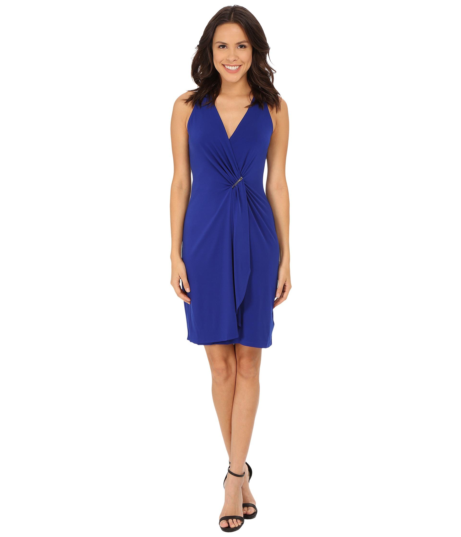 Michael Michael Kors Cascade Wrap Dress In Blue Lyst