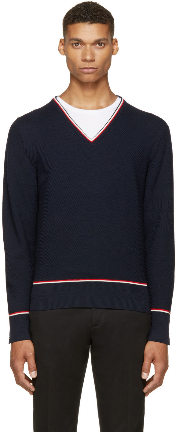 Thom browne Navy Tricolor V-neck Sweater in Blue for Men ...