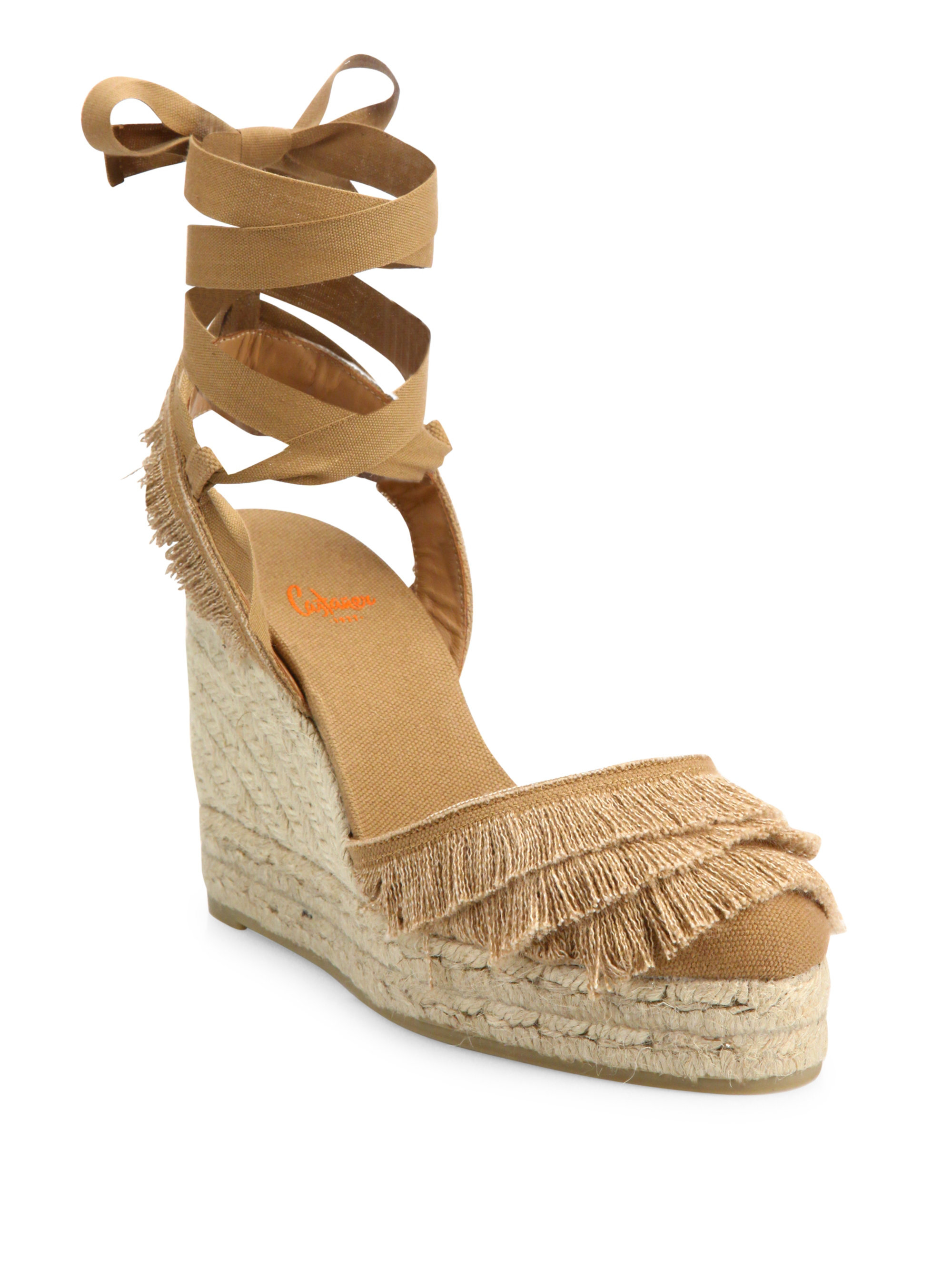 castaner cala feathered canvas espadrille wedge sandals in