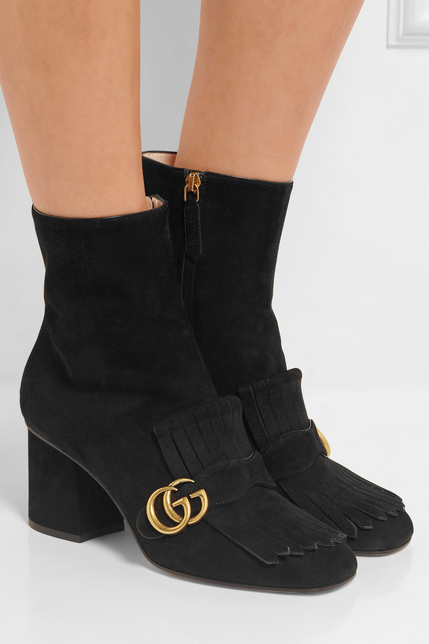Gucci Fringed Suede Ankle Boots in