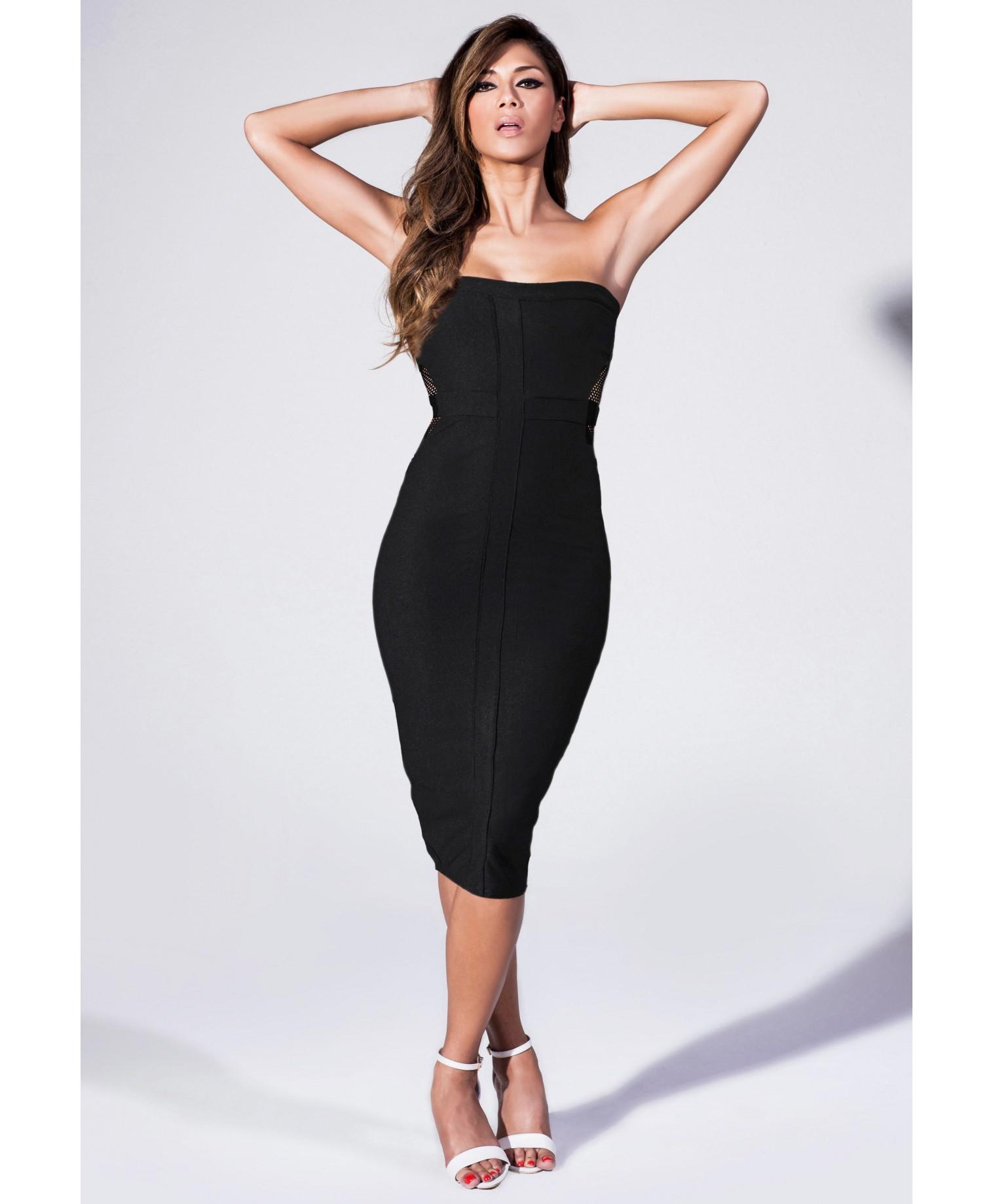 Black bandeau pencil dress