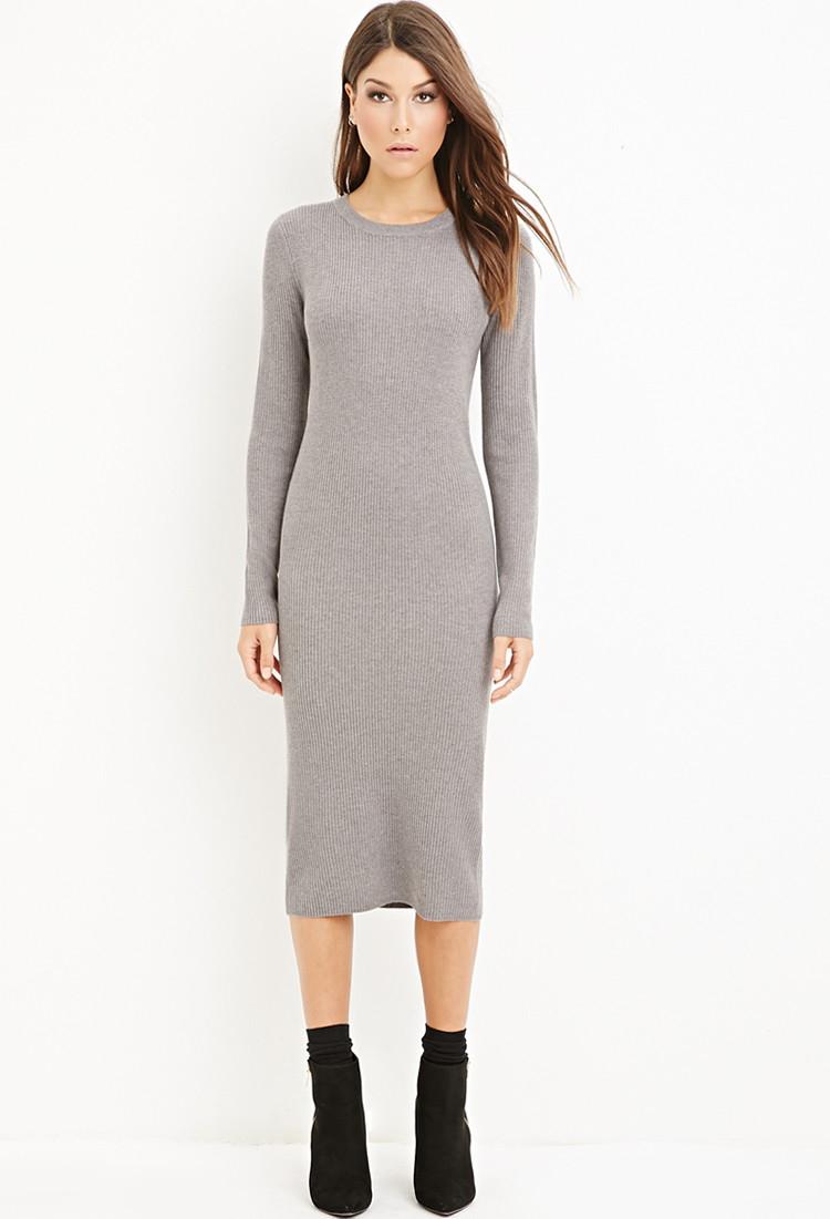 fcfabdbaa7b Forever 21 Ribbed Knit Midi Dress in Gray - Lyst