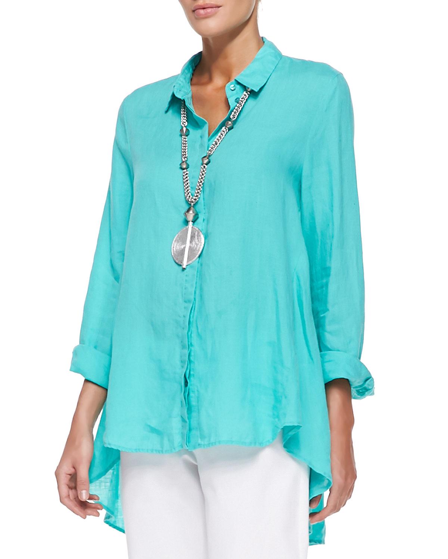 Lyst Eileen Fisher Organic Handkerchief Linen Shirt In Blue