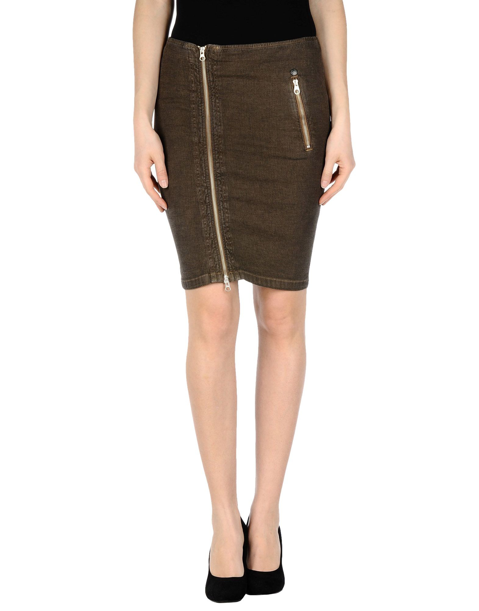 khaki knee length skirt