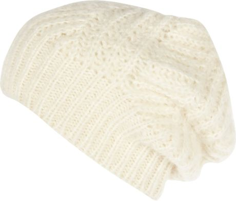 Knitting Pattern For Loose Beanie : River Island Cream Loose Knit Beanie Hat in White (Cream ...