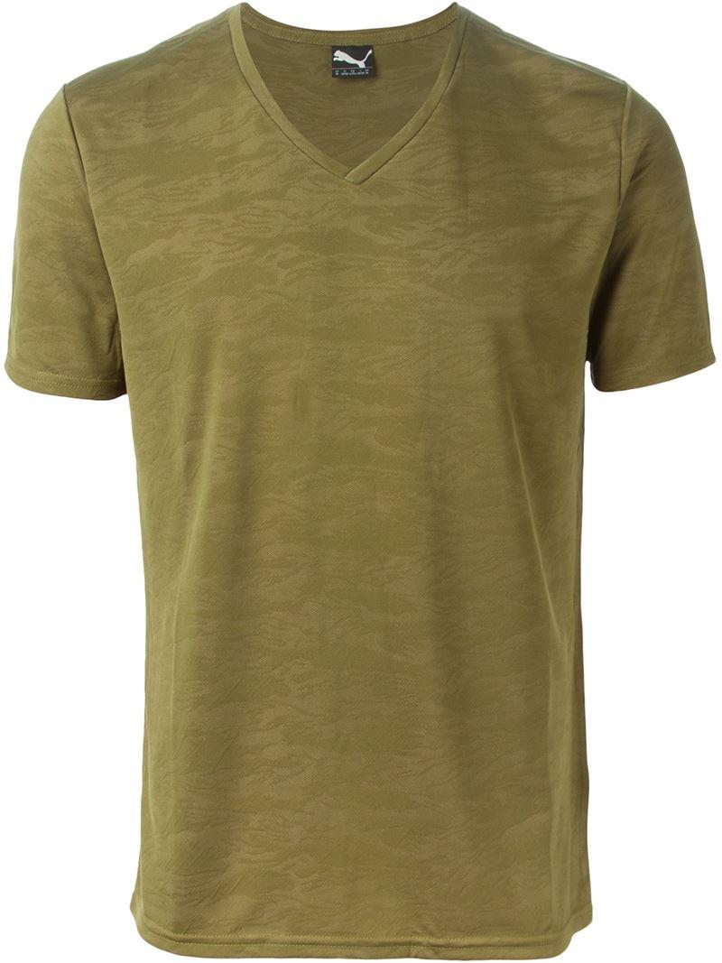 Puma V Neck T Shirt In Green For Men Lyst