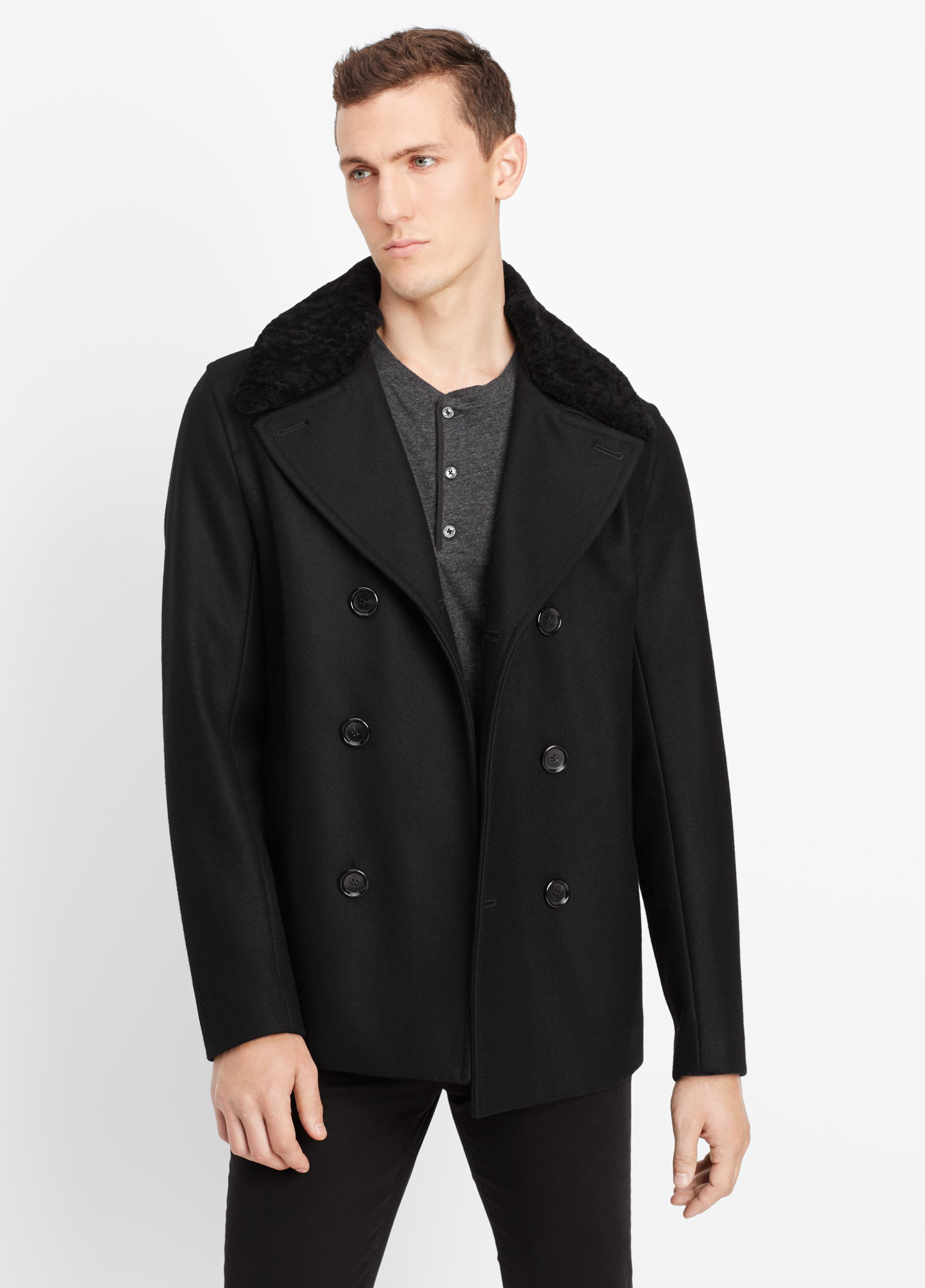 Vince Wool Melton Peacoat With Shearling Trim in Black for Men | Lyst